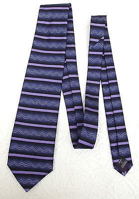NEXT silk tie with purple and blue stripes and wavy pattern